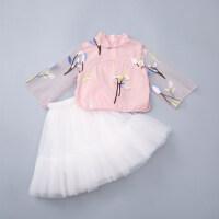 女童夏装套装2018夏季中国风两件套唐装裙古风汉服儿童旗袍套 粉色 110cm