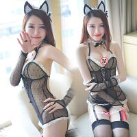性感情趣内衣套装女sao开裆可爱兔女郎猫女郎透明睡衣制服诱惑7955 黑色【女仆套装】+丝袜
