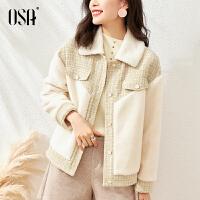OSA小香风羊羔绒毛呢外套女春秋季2021年新款短款小个子呢子大衣