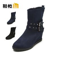 Daphne/达芙妮旗下鞋柜 冬季新款时尚复古女鞋方扣中坡跟女靴