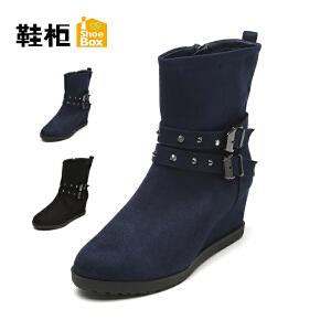 【双十一狂欢购 1件3折】Daphne/达芙妮旗下鞋柜 冬季新款时尚复古女鞋方扣中坡跟女靴