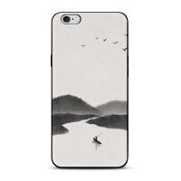 中国画水墨山水牵马大雁iphone7/8x苹果5se手机壳6s plus保护套男