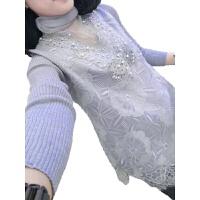 加绒蕾丝打底衫女秋冬季新款中长款洋气小衫针织长袖加厚保暖上衣