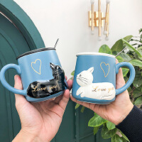 3D立体浮雕猫咪陶瓷杯带盖勺水杯卡通文艺小清新男女学生情侣杯子400ML