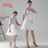 女童旗袍走秀公主裙短袖亲子装 旗袍薄款连衣裙中式礼服绣花母女装