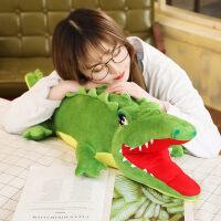 毛绒玩具娃娃公仔鳄鱼枕头长条抱枕公仔睡觉男孩子超大毛绒玩具可爱懒人生日礼物 绿色 1.9米