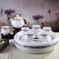 功夫茶具套装家用茶盘双层茶杯茶壶简约中式景德镇茶具陶瓷 8件