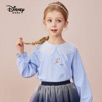 【2件3折:74.7元】迪士尼童装女童长袖网纱连衣裙21秋新款儿童裙子宝宝公主裙2021新款洋气