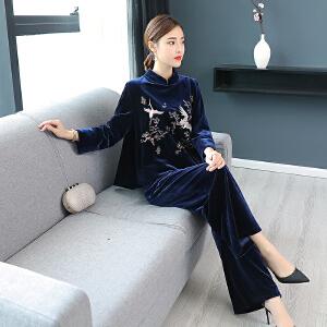 RANJU然聚2018秋冬季女装新品新款刺绣套装女中国风丝绒两件套少女日常复古风汉服