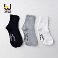 【11.2-11.7 大牌周 满100减50】BWELL 3双装袜子男韩版简约字母棉质吸湿排汗防臭中筒袜子