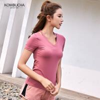 【女神特惠价】Kombucha运动健身T恤女士速干透气修身V领运动短袖上衣JCTX3123