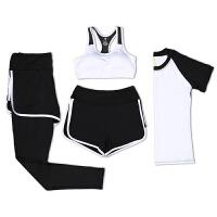 春夏秋季新款运动套装女健身房运动跑步短裤长裤短袖速干衣女瑜伽服显瘦四件套健身衣女