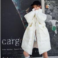 羽绒服女宽松轻薄中长款欧货潮女装过膝韩版冬装外套 S (80-125斤左右)