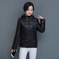 棉衣女修身连帽轻薄短款小棉袄冬装加厚外套 XL-5XL