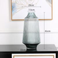 复古怀旧玻璃花瓶透明插花花店咖啡厅北欧装饰品高工艺品摆件欧式