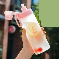 吸管水杯女学生可爱便携韩版个性创意潮流杯子夏天简约玻璃杯