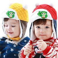 韩国新品宝宝帽子秋冬男女儿童帽子冬护耳帽撞色保暖婴儿帽子冬季