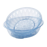 素雅双层沥水篮塑料洗菜盆厨房洗菜篮客厅家用水果篮水果盆 蓝灰色