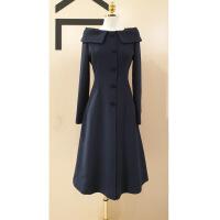 女装连衣裙2019春装新款韩版长袖一字肩性感收腰连衣裙高贵优雅单排扣减龄裙