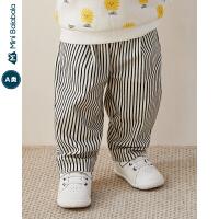【618年中庆 2件3折价:48】迷你巴拉巴拉男宝宝条纹长裤2020春装新款婴儿童装仿牛仔舒适裤子