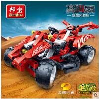 欢乐童年 邦宝积木儿童玩具高科益智拼装积木玩具拼装车赛车模型猎鹰风驰号