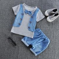 童装男童套装1夏季2儿童背心3宝宝4衣服0-5岁小孩短袖棉两件套 灰色 BB牛仔马甲短袖 110cm
