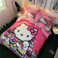 纯棉卡通凯蒂猫床上用品四件套全棉公主风儿童床单被套三件套女孩