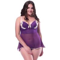 性感情趣内衣蕾丝透明加肥加大码睡衣女胖mm制服XXXXXL200斤 紫色