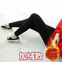 竖条纹女士秋冬加绒裤子女学生韩版弹力紧身显瘦外穿打底裤