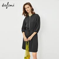 伊芙丽连衣裙2020年新款夏季收腰抽绳气质收腰今年流行什么裙子女
