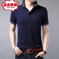 男士短袖t恤中年纯棉体恤宽松polo衫夏季翻领丝光棉新款男
