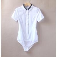 短袖衬衫女职业OL女装正装2018夏装新款白色连体棉衬衣工装工作服
