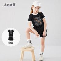 【2件3折价:64.5】安奈儿童装女童套装2020新款大童轻便舒适跑步运动短袖夏季两件套