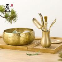功夫茶具配件茶夹茶刀黄铜六君子茶洗套装
