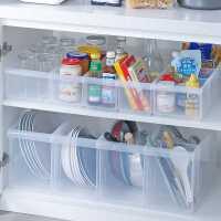 桌面收�{盒家用�N房置物架�还裾�理收�{筐塑料透明冰箱�s物�ξ锖�