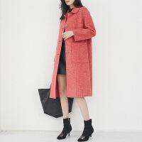2019秋冬季千鸟格双面呢大衣女中长款零羊绒呢子毛呢外套秋装 红色 大红色 XS 100-120