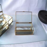 简约金边玻璃首饰盒欧式饰品收纳盒复古珠宝展示盒妆品桌面整理盒 直边透明玻璃18*9*5CM 底为镜面