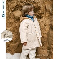 【限时1件6折 2件5折】迷你巴拉巴拉儿童棉服男童棉袄2019冬装新品宝宝羊羔毛连帽棉衣