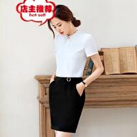 2019夏装韩版时尚短袖衬衫女职业装气质白色衬衣正装工作服批发