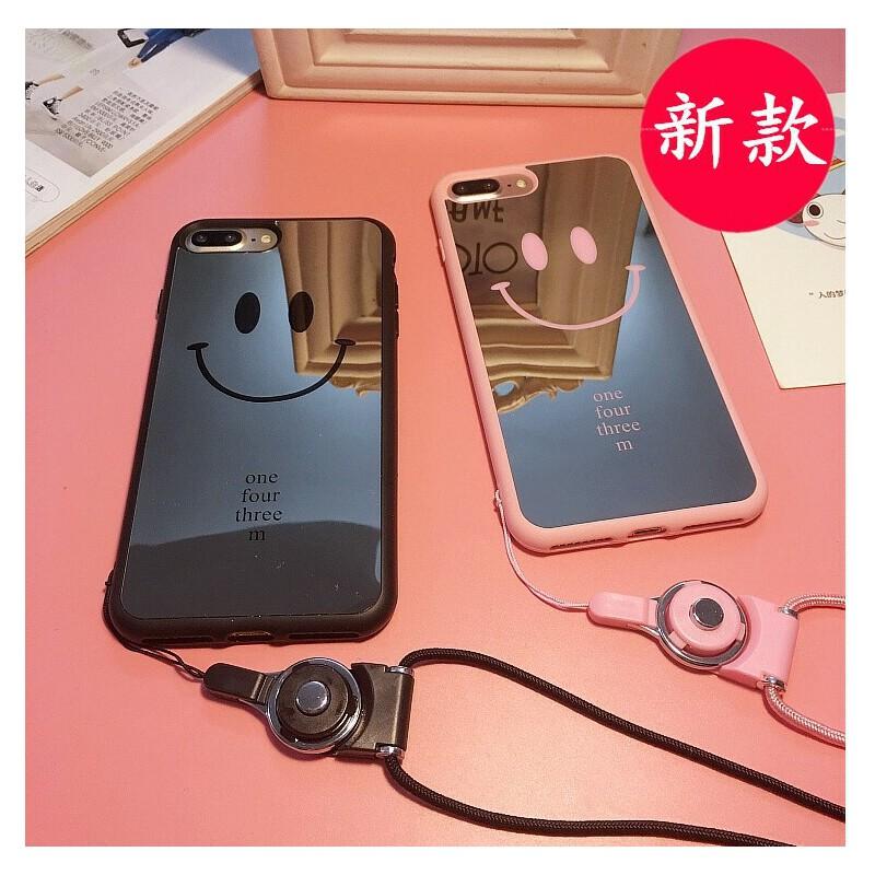 P苹果6plus手机壳照相机式iphone6s个性带挂绳挂脖子外壳潮女款5s iPhone7 黑色笑脸