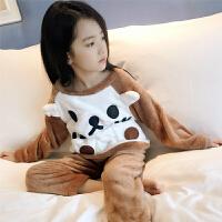 女童睡衣儿童法兰绒秋冬厚款珊瑚绒家居服套装小女孩宝宝长袖冬季