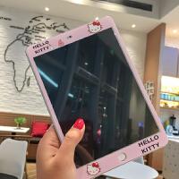 新款2018iPad卡通�N膜air2mini3�O果4迷你1前膜�化彩膜pro9.7