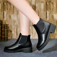 彼艾2017秋冬高跟鞋短靴粗跟马丁靴高跟短靴女鞋粗跟防水台圆头女靴高跟鞋