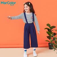 【1件2折】巴拉巴拉旗下MarColor马卡乐春新品女童时尚阔腿背带针织长裤