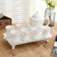 欧式咖啡具简约水具茶杯陶瓷咖啡杯茶具客厅杯子套装家用水杯 白色 8件