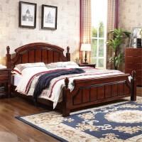 美式乡村全实木床1.51.8米双人主卧床简约现代经济型家具 +床垫