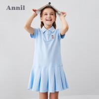 【2件5折:119.5】安奈儿童装女童连衣裙短袖2020新款女孩运动裙子夏洋气A字裙短袖