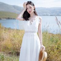 【好货推荐】 2019夏季新款女蕾丝复古连衣裙白色吊带长裙子海边度假超仙沙滩裙 白色 XZ18D1704