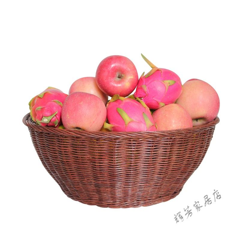 竹篮藤编水果篮展示篮水果盘家居厨房蔬菜零食杂物收纳筐储物筐