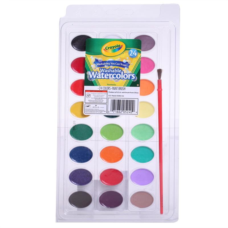 当当自营Crayola 绘儿乐 24色可水洗固体颜料 53-0524【当当自营】美国儿童绘画品牌
